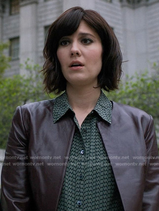 Laurel's green jagged stripe blouse on BrainDead
