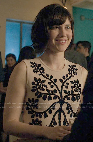 Laurel's nude leaf print dress on BrainDead