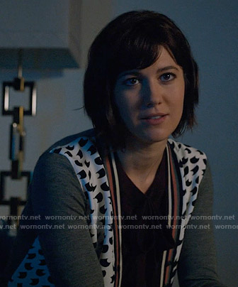 Laurel's printed cardigan on BrainDead