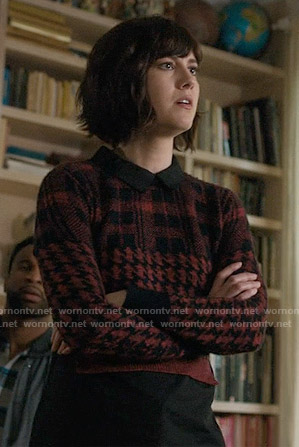 Laurel's red plaid and houndstooth sweater on BrainDead