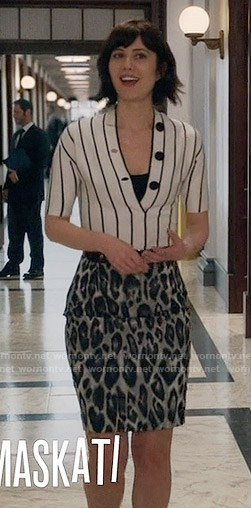 Laurel's striped top with black buttons and leopard print pencil skirt on BrainDead