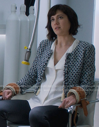 Laurel's white blouse and cropped tweed jacket on BrainDead