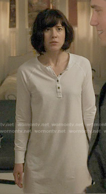 Laurel's white henley sleepshirt on BrainDead