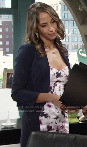 Lily's dress with front floral panel on The Young and the Restless