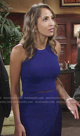 Lily's blue crop top and lace-up skirt on The Young and the Restless