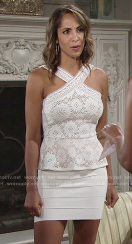 Lily's white lace peplum top and ribbed skirt on The Young and the Restless