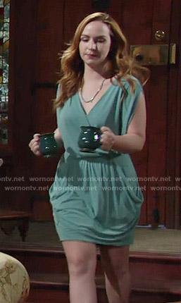 Mariah's green draped dress on The Young and the Restless
