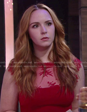 Mariah's red lace panel dress on The Young and the Restless