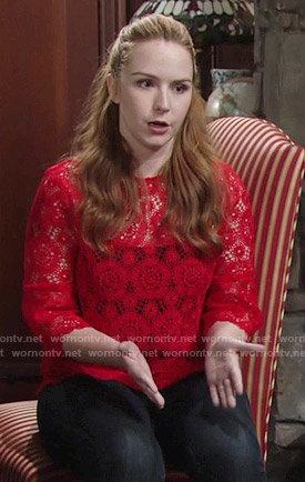 Mariah's red lace top on The Young and the Restless