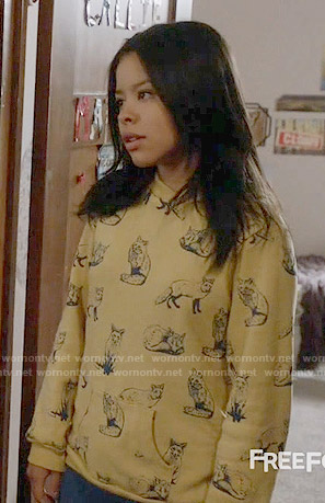 Mariana's yellow fox print sweatshirt on The Fosters