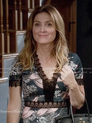 Maura's floral lace-trimmed dress on Rizzoli and Isles