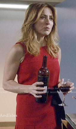 Maura's red drop waist pleated dress on Rizzoli and Isles