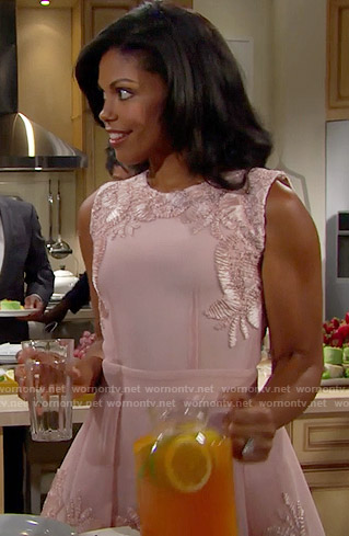 Maya's pink embroidered dress on The Bold and the Beautiful