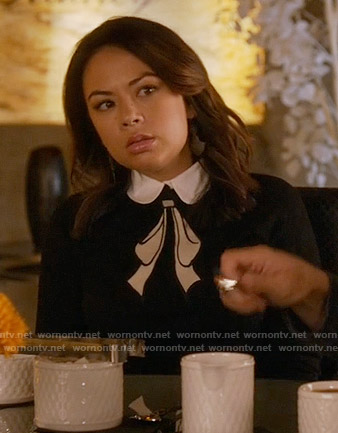 Mona's black and white collared bow sweater on Pretty Little Liars