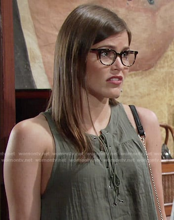 Natalie's green sleeveless lace-up top on The Young and the Restless