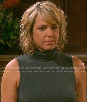 Nicole's grey sleeveless turtleneck top on Days of our Lives