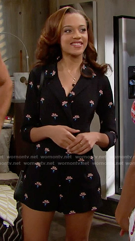 Nicole's black printed playsuit on The Bold and the Beautiful