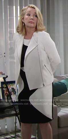 Nikki's black and white swirl pattern dress on The Young and the Restless