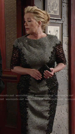 Nikki's grey dress with black lace sides on The Young and the Restless
