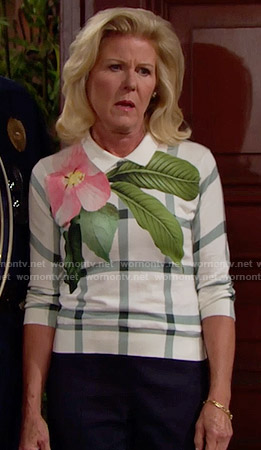 Pam's checked and floral sweater on The Bold and the Beautiful