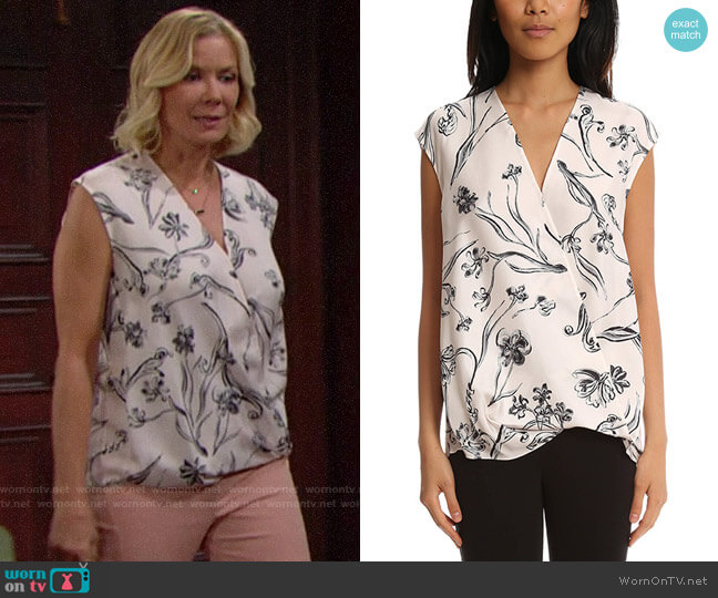 3.1 Phillip Lim Floral Print Soft Draped Sleeveless Blouse worn by Brooke Logan (Katherine Kelly Lang) on The Bold & the Beautiful