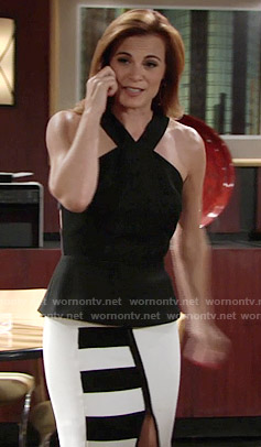 Phyllis's black peplum top and white striped skirt on The Young and the Restless