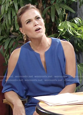 Phyllis's blue split-sleeve dress on The Young and the Restless