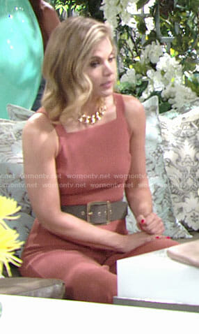 Phyllis's orange square neck jumpsuit on The Young and the Restless