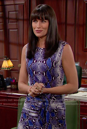 Quinn's blue snake print dress on The Bold and the Beautiful