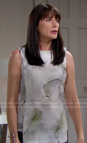 Quinn's printed sleeveless top on The Bold and the Beautiful