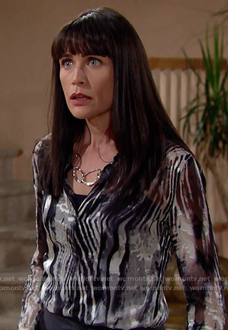 Quinn's zebra print blouse on The Bold and the Beautiful