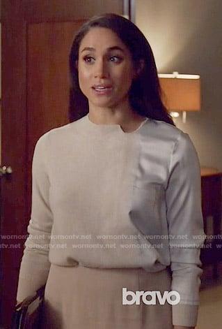 Rachel's satin panel sweater on Suits