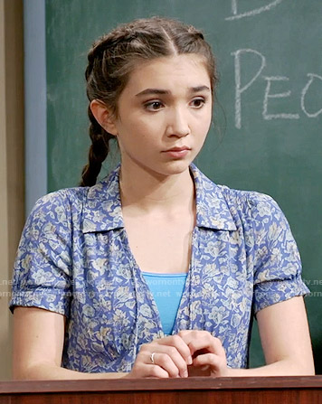 Riley's blue floral short sleeved dress on Girl Meets World