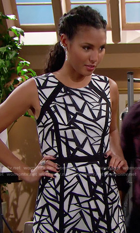 Sasha's black and white patterned gown on The Bold and the Beautiful