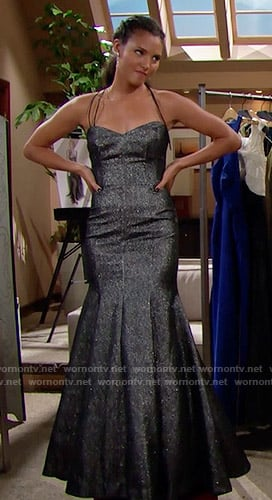 Sasha's metallic mermaid gown on The Bold and the Beautiful