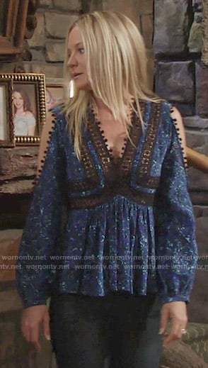 Sharon's blue lace trim cold shoulder top on The Young and the Restless