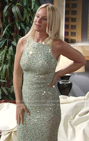 Sharon's embellished mint green dress on The Young and the Restless