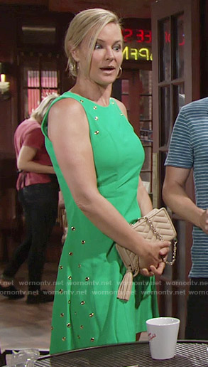 Sharon's green grommet studded dress on The Young and the Restless