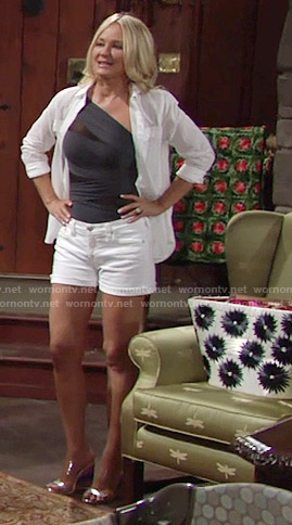Sharon's one-shoulder swimsuit and white shorts on The Young and the Restless