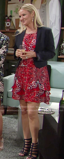 Sharon's red paisley dress on The Young and the Restless