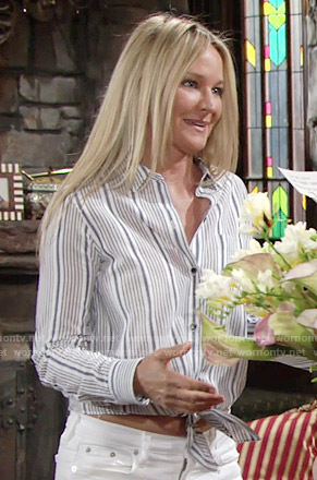 Sharon's striped tie front shirt and white shorts on The Young and the Restless