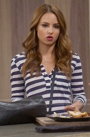 Sofia's navy and white striped henley top on Young and Hungry