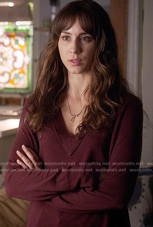 Spencer's burgundy v-neck sweater on Pretty Little Liars