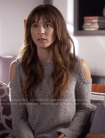 Spencer's grey cold shoulder sweater on Pretty Little Liars