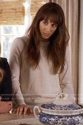 Spencer's white sweater with mesh insets on Pretty Little Liars