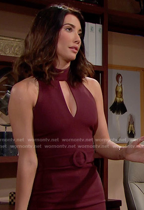 Steffy's burgundy front keyhole cutout dress on The Bold and the Beautiful