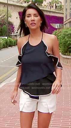 Steffy's navy ruffled open shoulder top and white shorts on The Bold and the Beautiful