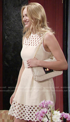 Summer's beige lattice panel dress on The Young and the Restless