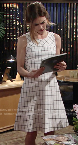 Victoria's white windowpane dress on The Young and the Restless