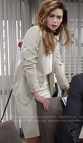 Victoria's beige pinstriped blazer on The Young and the Restless